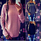 Ladies Lace Batwing Long Sleeve Knitwear Jumper Pullover Tops Sweater Blouse