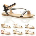 WOMENS LADIES FLAT STRAPPY BUCKLE DIAMANTE TRIM SUMMER EVENING SANDALS SIZE