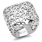 Women's Weave Flower Stainless Steel Weave Wide Square Band Fashion Ring