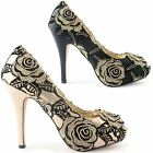 WOMENS LADIES PLATFORM STILETTO HEEL PARTY HIGH HEEL PEEP TOE SHOES SIZE 3-8