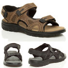 MENS LOW HEEL FLAT GENUINE LEATHER HOOK & LOOP STRAP ADJUSTABLE SANDALS SIZE