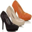 WOMENS LADIES PLATFORM STILETTO HIGH HEEL PARTY COURT SHOES PUMPS SIZE