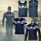 Men's Superhero Captain America 2 Costume Casual Jersey Sports T-shirts Tees Top