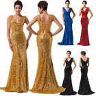 SEXY Golden Sequin Long Prom Gowns Mermaid Bodycon Evening Party Formal Dresses