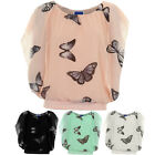 Womens Elasticated Waist Sleeveless Flare Butterfly Chiffon Overlay Top Blouse