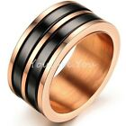 Fashion 10mm Mens Black Ceramic Inlay Rose Gold Titanium Band Ring Comfort Fit