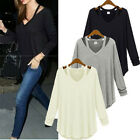 Oversized Women Solid Cotton V Neck Occasion Loose Shirt Top Blouse Black