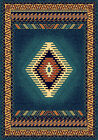 BLUE multi APACHE native AMERICAN lodge CARPET southwestern BORDERED area RUG