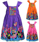 Girls Floral Summer Dress Kids Cotton Beaded Party Sun Dresses Age 3-10 Years