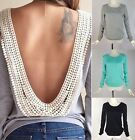 New Womens Backless Long Sleeve Shirt Casual Blouse Tops Shirt Clothing No.1