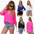 2015 Women's Summer Loose Chiffon V-Neck Tops Long Sleeve Shirt Casual Blouse