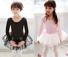 Pink Black Girl Ballet Tutu Dance Costume Long Sleeve Leotard Dress Party Gift