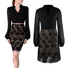 Women's Lace Floral Long Sleeve Splice Formal Ball Evening Party Cocktail Dress