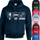 EAT, SLEEP, SKATEBOARD HOODIE ADULT/KIDS - PERSONALISED - TOP SKATE BOARD PARK