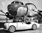 1950s United Airlines Stewardess in Convertible at  DC 3 Convair