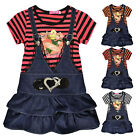 Girls Striped Dungaree Dress Kids Summer Party Dresses New Age 3 4 5 6 7 8 Years