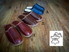 New Mens Brown Black 100% Natural Leather Slippers 7 8 9 10 11 12 Gift Present