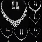 Wedding Rhinestone Crystal Bridal Necklace Earrings Sets Women Jewelry Hot Party