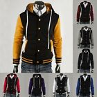 Popular Men Varsity University Letterman Baseball Hooded Hoody Jacket Overcoat