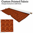 ORANGE PAISLEY DESIGN FABRIC LYCRA SPANDEX ALOBA POLYESTER SATIN L&S PRINTS