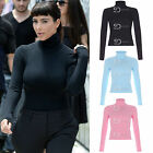 AN36 Womens Ladies Celebrity Inspired Plain Polo Roll Neck Long Sleeve Top Tees