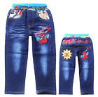 New Hot Kids Children Boys Girls Spider-Man Cool Blue Jeans Pants Aged 3-9 Years