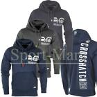 Mens Crosshatch Rear Logo Print Pull Over Hooded Top Sweatshirt Hoody Size