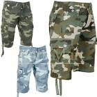 Mens Crosshatch Forest Camo Print Cargo Combat Pocket Summer Shorts Size