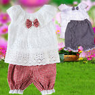 2Pc Baby Girls Kids Toddler Lace Shirt +Pants Outfits Hollow Out T-Shirt Clothes