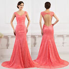 Mermaid Backless Lace Prom Wedding Gown Bridesmaid Formal Evening Princess Dress