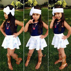 Kids Toddler Girls Blue Sleeveless Blue Top+Floral Printing Dress+Scarf 3-Pcs
