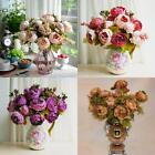 Artificial 8 Heads Peony Silk Flower Leaf Bouquet Wedding Party Home Table Decor