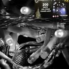 Led String Lights 200 Bulb Battery Operated Timer Indoor Outdoor Colour White