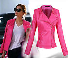 PREFECT STYLE Women Celeb Elegant Rose Faux Leather Coat Motorcycle Jacket UK EW
