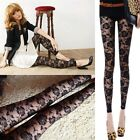New Fashion Women Summer Sexy Rose Floral Lace Mesh Elastic Leggings Ninth Pants