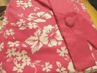 "JCP PINK LUAU FLORAL CURTAINS COTTON LINED DRAPERY PAIR Tab Tops 63""L OR 84""L"