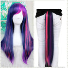 Long Full Wig Straight Hair Cosplay Party With Ponytail Purple Gradient Color