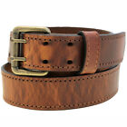 1 1/2 Hot Dipped Tan Harness Leather Belt Double Hole Faux-Stritching