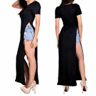 Women Lady Side Slit Top Dress Casual Sexy Stylish Maxi Long Split T-shirt Tee