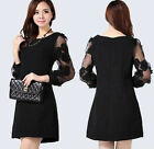 style Women long Sleeve  Pencil Cocktail Party dinner Lace Dress plus size 10-22