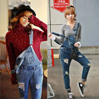 Summer Girl Denim Overall Suspender Jean Trousers Pants Ripped Jumpsuit Romper