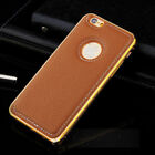 Ultra-thin Metal Aluminum + Leather Case Back Cover Skin for iPhone 6 / 6 Plus