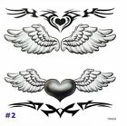 NEW Temporary Tattoos Cool Wings Black&White Body Art Large Transfer Waterproof