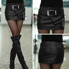 Sexy Black Wet Look Faux Leather Mini Short Skirt Dress Bodycon Shorts & Belt