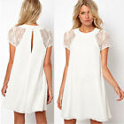 Women's Short sleeve Chiffon Summer Sexy Lace Floral Short Cocktail Mini Dress