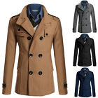 New Fashion Jacket Mens Long Trench Coat Wool Double Breasted Overcoat Outerwear