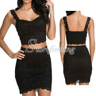Women Black Club Party Cocktail Lace Sleeveless Top Mini Skirt Set Dress SF