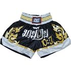 BLACK DUO '10YR' KIDS & ADULTS MUAY THAI KICKBOXING BOXING SHORTS (XS-XL)