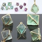 New Gemstone Stone Crystal Irregular Rhombus Diamond Shape Pendant Fit Necklace
