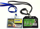 Flexible Plastic ID Card Badge Holder With Black Blue Neck Strap Lanyard Free